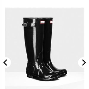 Original Black Shiny Hunter Boots